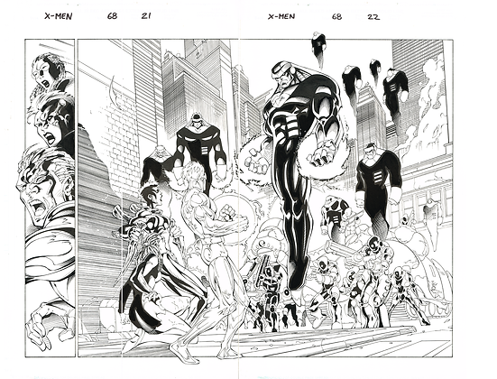 X-Men #68/Pages 21&22  Dbl Page Spread