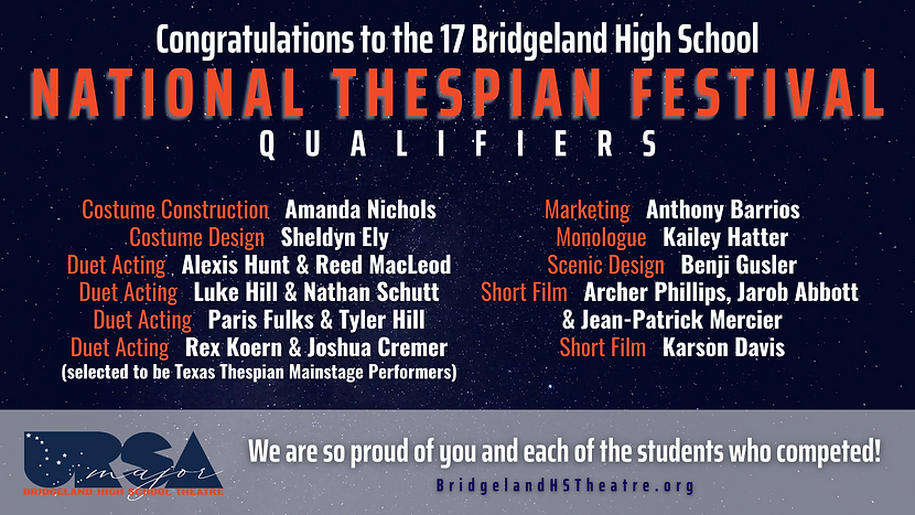 BTABC National Thespian Qualifiers 2021