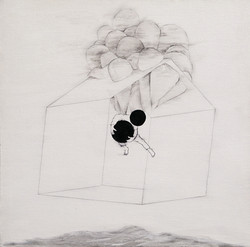 The Home II 2014 graphite pen and acrylics on canvas 19.5x19.5 in