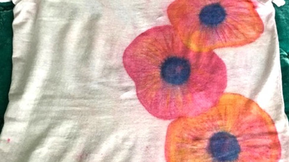 Pink and Red Poppy Handpainted T-Shirt