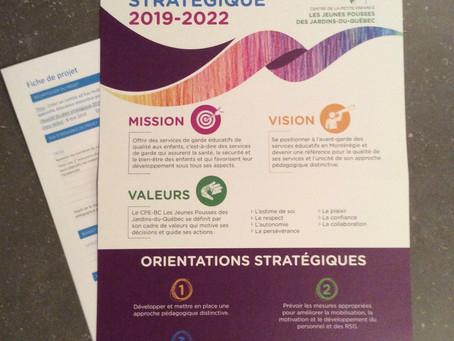 Focus client - Affiche visuelle du plan stratégique du CPE Les Jeunes Pousses des Jardins-du-Québec