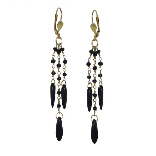 Tiny faceted black spinel beaded gold chain drop earrings w/jet dagger beads