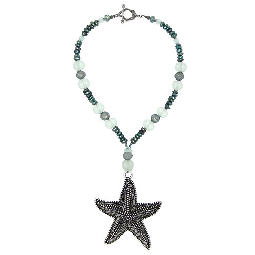 Antique silver starfish pendant sea glass and pearl necklace