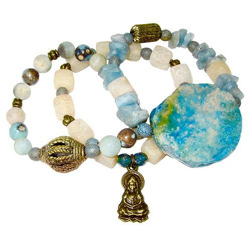 Fossil stone, agate, aquamarine chunks, Czech glass beads, Buddha charm