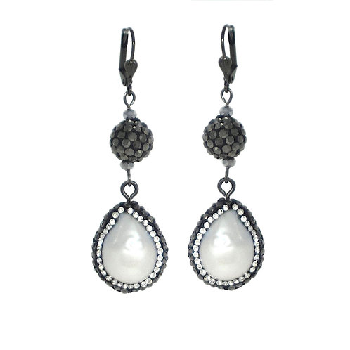 Pave' freshwater pearl drop dangle earrings