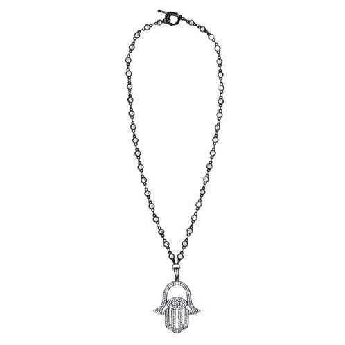 Pave' Hamsa hand pendant cz necklace