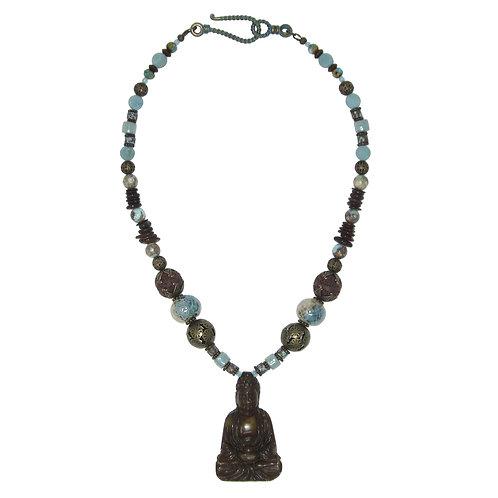 Jade Buddha pendant mixed bead necklace