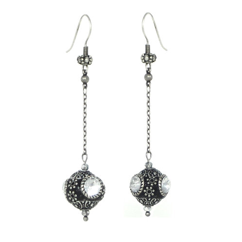 Crystal studded black clay and silver chain drop earrings