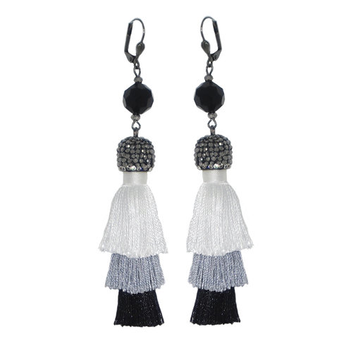 Pave' tiered try-color tassel drop earrings