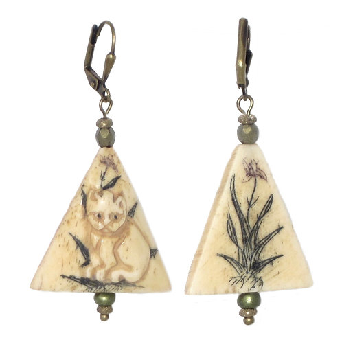 Carved, hand painted bone Kitty Cat drop earrings