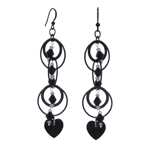 Jet beaded metal rings with onyx hearts dangle drop earrings