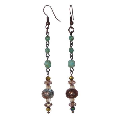 Raku ceramic & glass bead chain drop earrings
