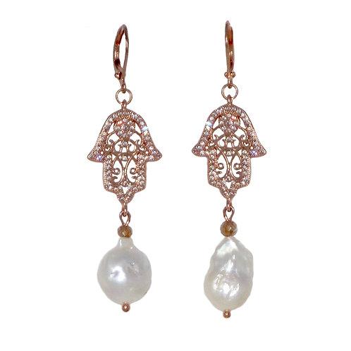 Rose Gold Pave' Hamsa hand freshwater pearl drop earrings