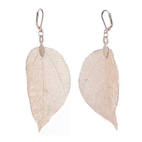 Rose Gold coated real leaf drop earrings