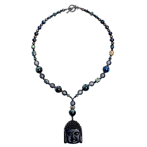 Black onyx Buddha pendant, blue tiger eye mixed bead necklace