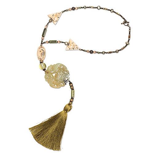 Carved jade medallion mixed bead/tassel necklace