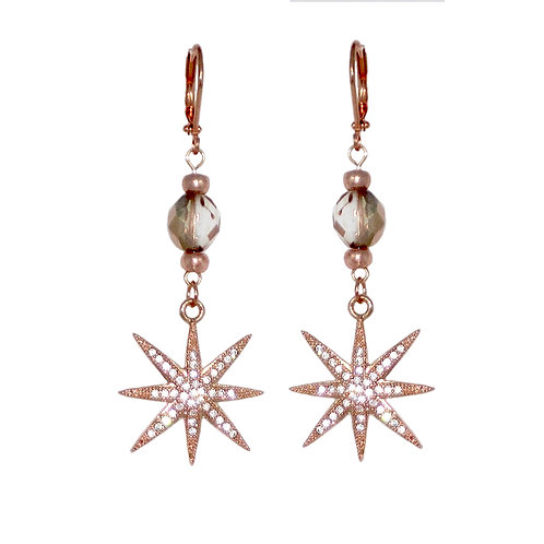 Rose Gold Pave' Star beaded drop earrings