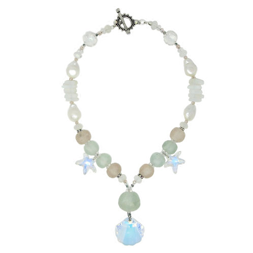 Sea glass, freshwater pearl, Swarovski crystal pendant necklace