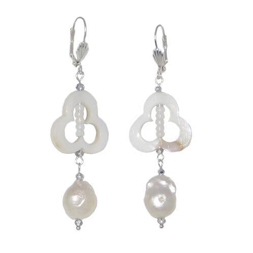 MOP trifoil/silver freshwater pearl drop earrings