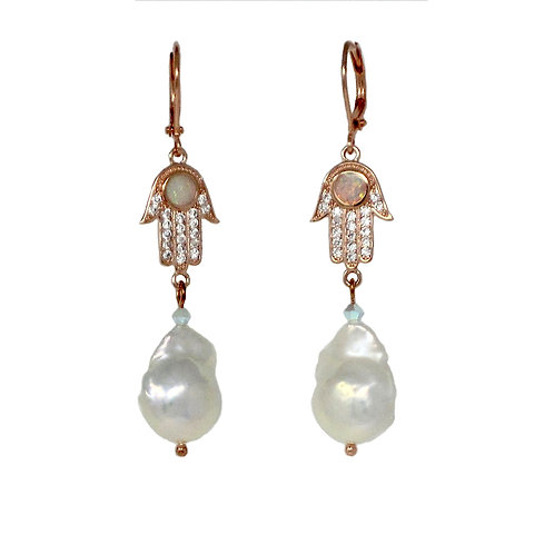 Opal Inset Rose Gold Pave' Hamsa hand freshwater pearl drop earrings