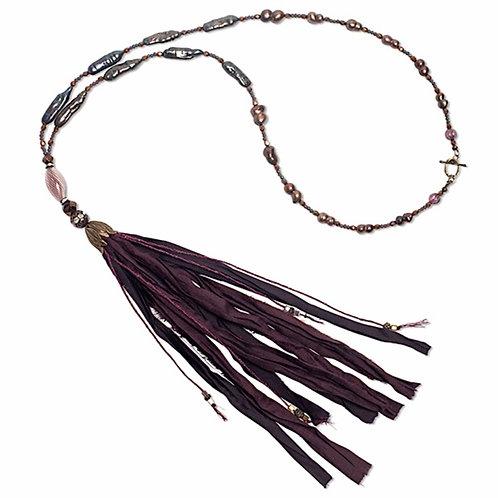 Deep wine freshwater pearl, blown glass, mixed bead sari silk tassel necklace