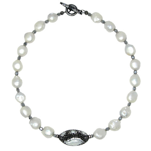 Pave' white freshwater keisha pearl collar necklace
