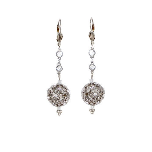 Rhinestone inset silver filigree ball cz chain drop earrings