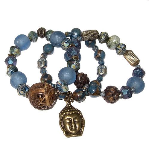 Teal sea glass, golden quartz, carved bone, Czech glass, Buddha charm