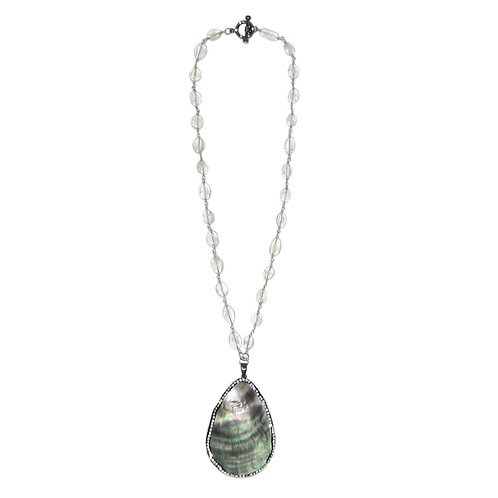 Pave' MOP Shell Pendant Rock Crystal Beaded Chain Necklace