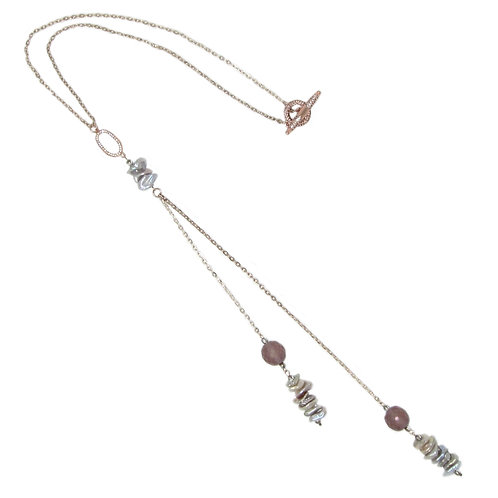 Pave' rose gold freshwater keishi pearl beaded chain pendant necklace