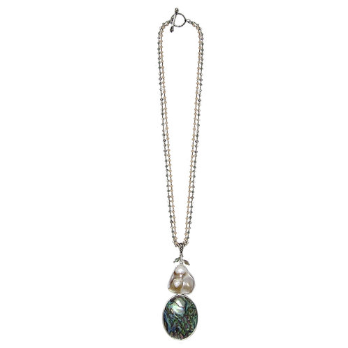 Abalone and Freshwater Pearl Pendant Double Crystal Chain Necklace