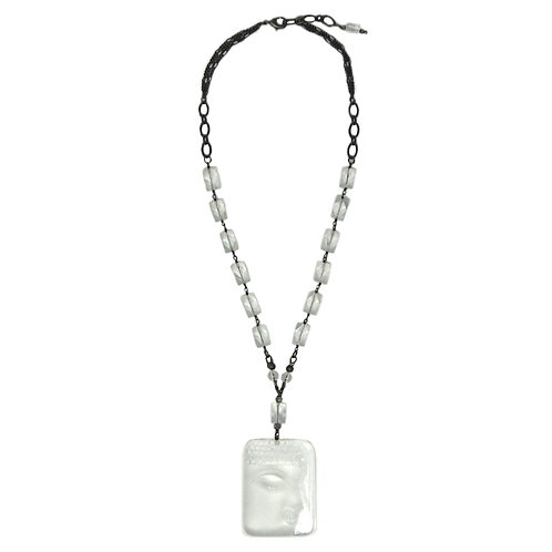 Quartz crystal mixed chain necklace with Buddha pendant