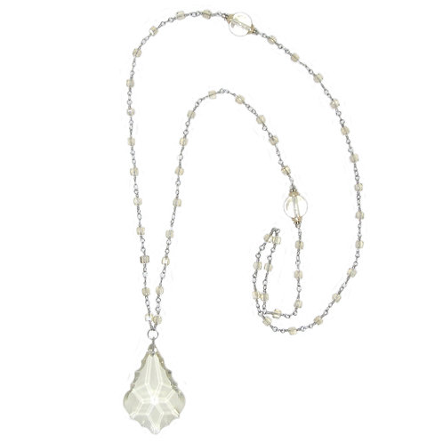 Champagne teardrop chandelier crystal pendant necklace on crystal beaded chain
