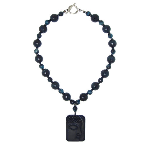 Black onyx Buddha pendant with blue tiger eye gemstone necklace