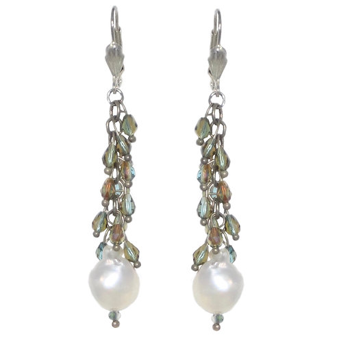 Fringey beaded silver chain drop earrings with white freshwater pearls