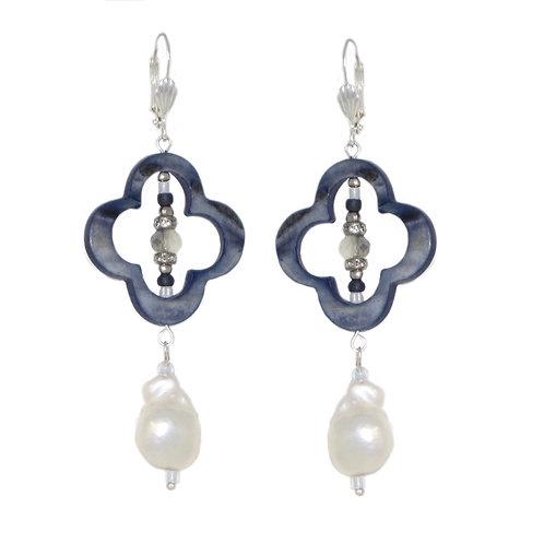 Navy dyed MOP quatrefoil/silver freshwater pearl drop earrings