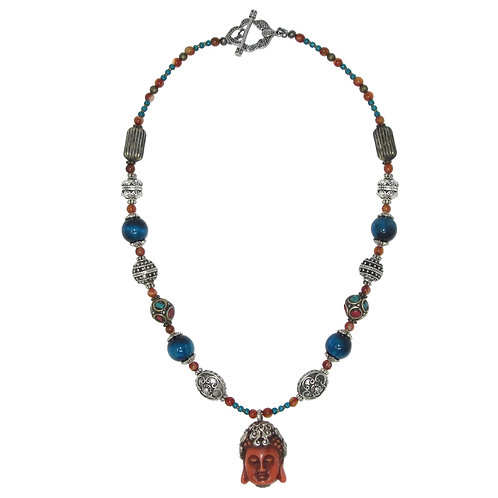 Buddha pendant blue tiger eye mixed bead necklace