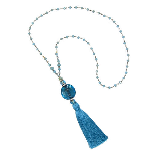 Turquoise blown glass bead/ beaded chain tassel necklace