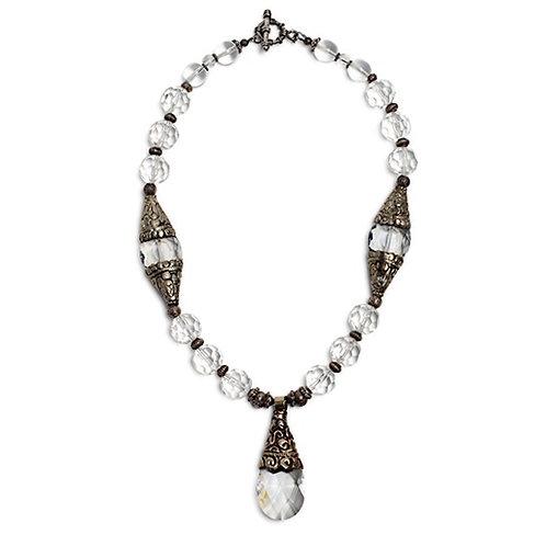 Clear Quartz Crystal/Tibetan Repousse' Silver Necklace