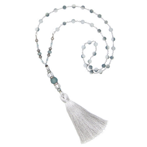 Light gray and seafoam blown glass bead/ beaded chain tassel necklace