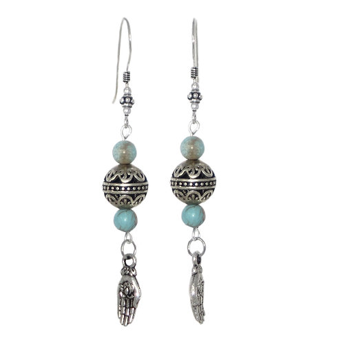 Lotus in Hand drop earrings with sterling silver ear wires