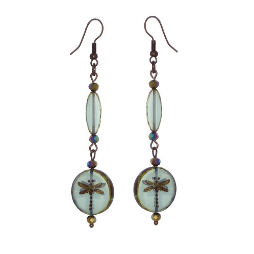 Dragonfly glass bead tiered drop earrings