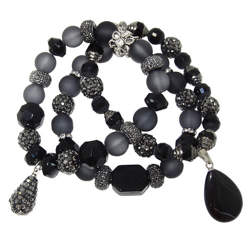 Jet, pave',frosted Czech glass beads, rhinestones and black agate