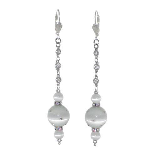 Rhinestone studded cat eye and cz chain drop earrings