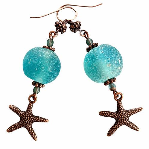 Antique copper starfish sea glass drop earring
