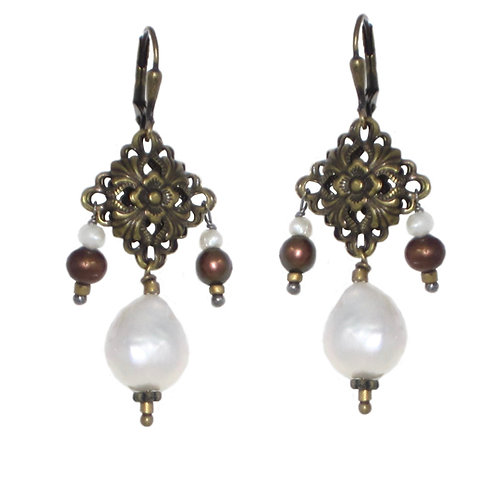 Antique brass filigree and freshwater pearl drop earrings