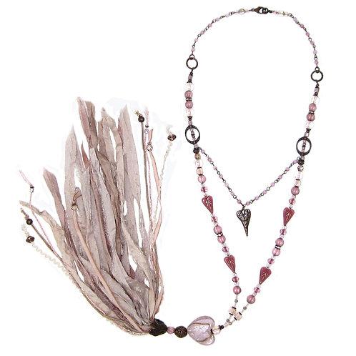 Rose pink mixed bead sari silk tassel necklace