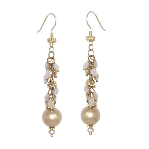Fringey beaded gold chain drop earrings with golden crystal pearls