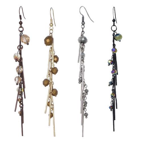 Beaded metal fringe dangle drop earrings