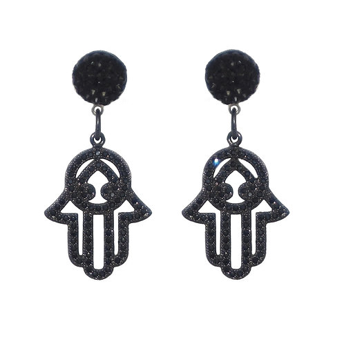 Jet black pave' Hamsa Hand drop post earrings